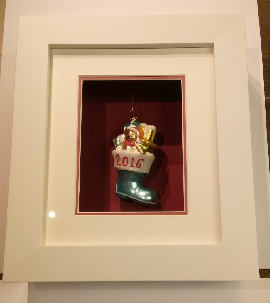 Child's first Christmas bauble in box frame