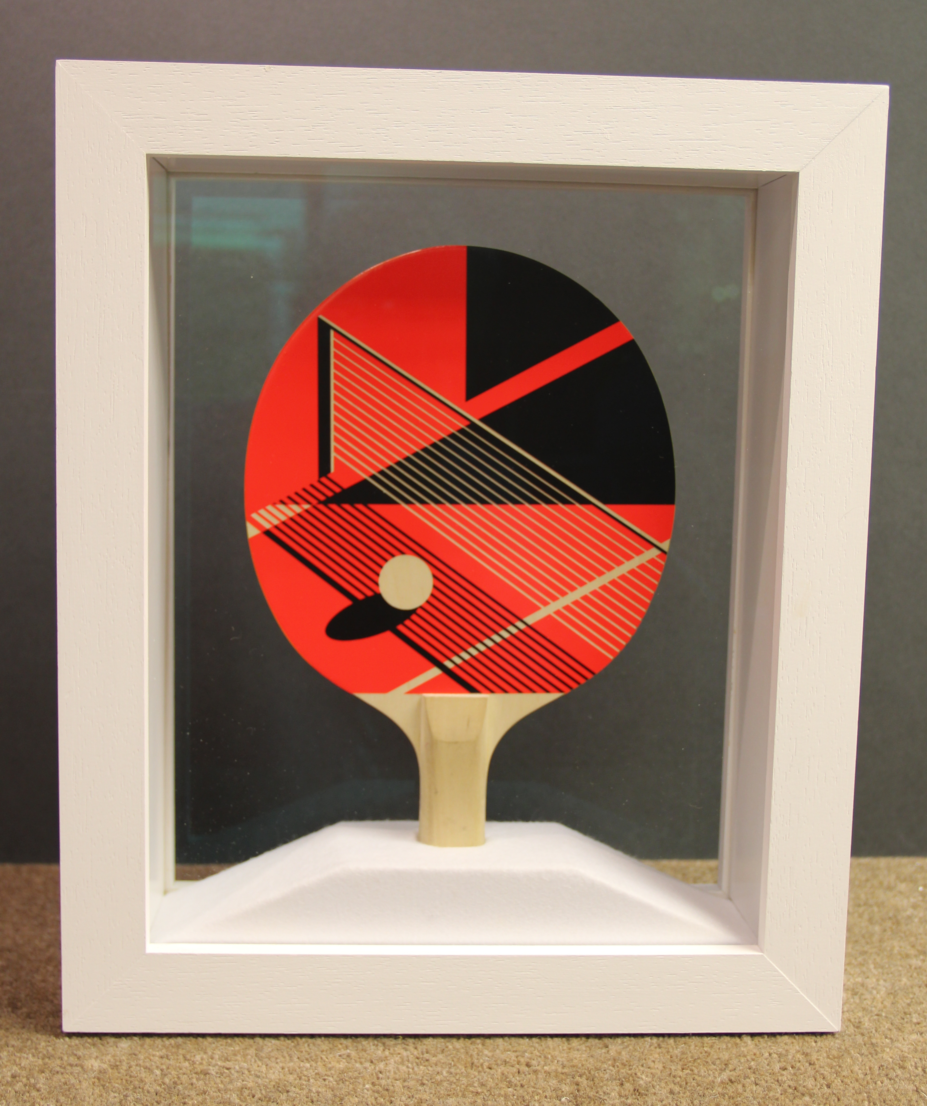 table tennis bat in double sided frame. Reverse view